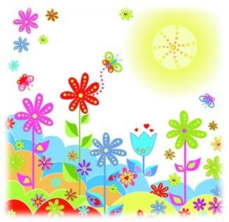 开心花朵矢量图